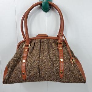 Brooks Brothers leather trim satchel purse
